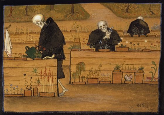 Simberg, Hugo: The Garden of Death (1896). Fine Art Print/Poster. Sizes: A4/A3/A2/A1 (0049)
